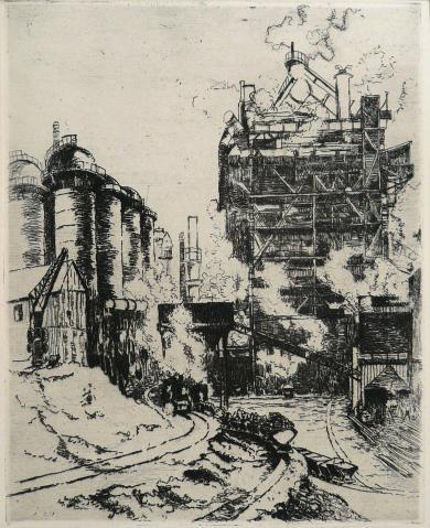 Antonius van der Pas-Radierungen Gegenständlich-01-2075-Hochofen 1976
