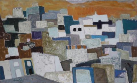 Antonius van der Pas-Malerei-50er-05-075-Maurische Stadt 1957