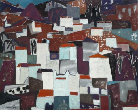 Antonius van der Pas-Malerei-50er-03-058-Andalusische Stadt 1958