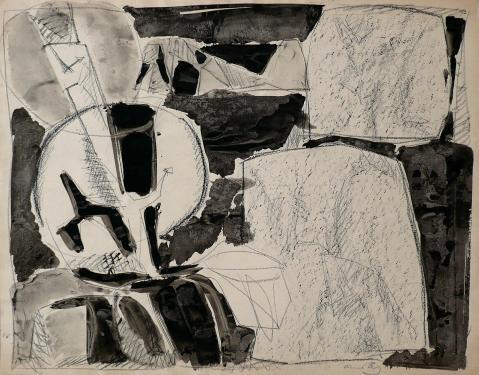 Antonius van der Pas-Zeichnungen-70er-06-1629-Kohle Gouache-undatiert