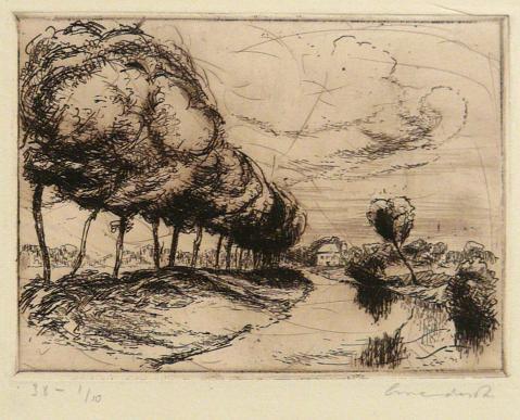 Antonius van der Pas-Radierungen Gegenständlich-10-2107-Landschaft 1948