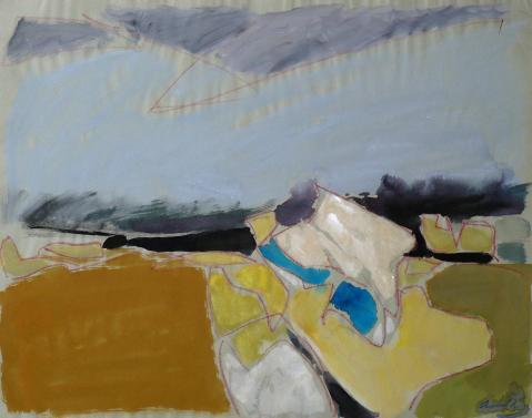 Antonius van der Pas-Gouachen-60er-07-642-Nordische Landschaft 1969